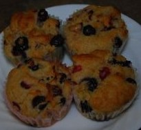 gluten free cranberry blueberry orange muffins